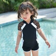 Купальный костюм из двух предметов для девочек; горячая распродажа; черные марлевые купальники для девочек; одежда для купания с короткими рукавами для малышей; детский купальный костюм