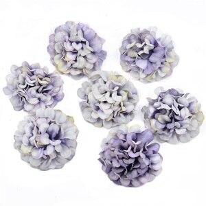 Image 4 - 10 ピース/ロット安い造花シルクアジサイヘッド結婚式の装飾diy花輪スクラップブッキングクラフト偽花