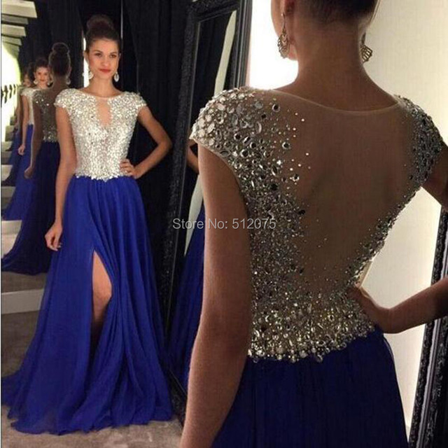 Fashion Chiffon Scoop Neck Cap Sleeves Long Evening Dresses 2017 Side Slit Beaded A Line Floor Length Evening Dress SML1027