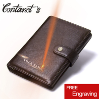 2018 Vintage Genuine Leather Men Wallet Hasp Organizer Wallets Cowhide Cover Coin Purse Design Brand Men's Credit&id Mult Wallet