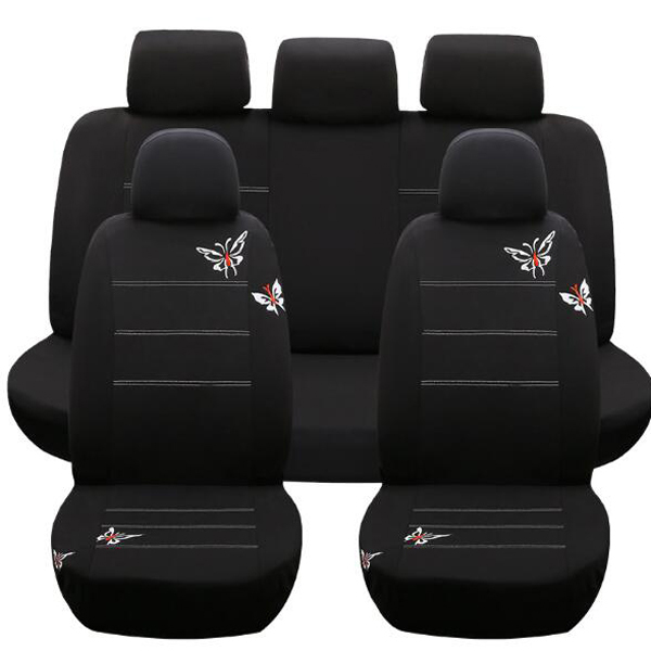 Butterfly Seat Cover Embroidered Vehicles Seats Cover Interior Accessories Black set Auto Universal Car Seat Covers