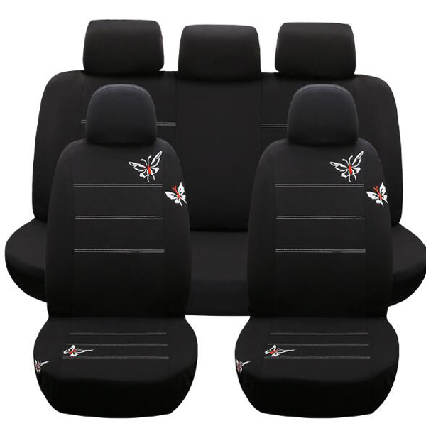 Housse de siège papillon brodé sièges de véhicules accessoires d'intérieur noir set Auto universel housses de siège de voiture