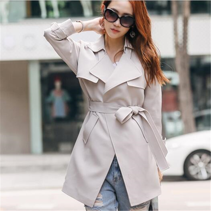 New 2019 Pure Color Lapels Long Sleeve Fashion High-end Women   Trench   Loose Plus Size Women Spring Autumn Slim Coat RE2295