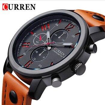 2016 CURREN Luxe Merk Horloges Mannelijke Mode Toevallige Quartz Horloge Lederen Band Mannen Sport Horloge Man Relogio Masculino