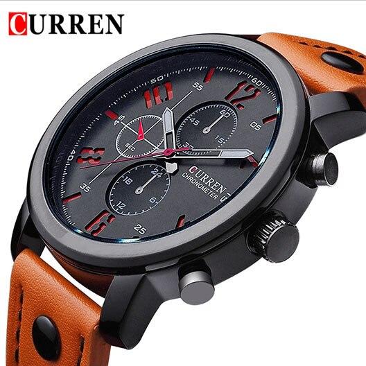 Prix pour 2016 CURREN marque de luxe montres homme mode montre bracelet en cuir de Quartz hommes sport montre homme Relogio Masculino