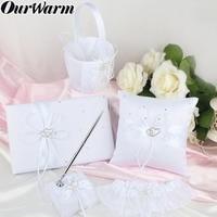 OurWarm 5pcs/set Wedding Ring Pillow Set Double Heart Satin Ribbon Diamond Ring Pillow Flower Basket Guest Book Pen Set Garter