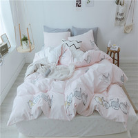 2018 Light Pink Cats Bedding Set 100% Cotton Fabric Twin Queen King Size 3/4Pc Print Duvet Cover Flat Sheet Pillowcases