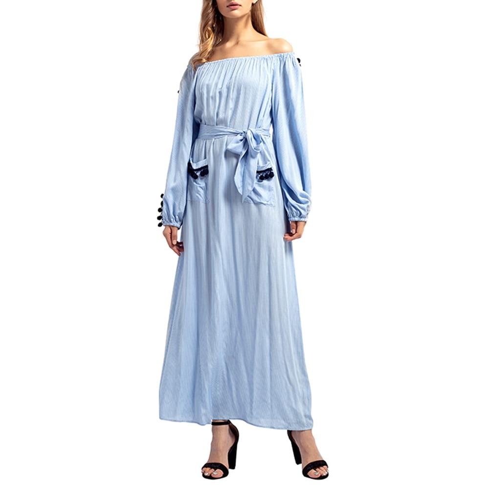 d2a3bbf961 Kobiety Solidna Bandaża Długa Sukienka Islamska Muzułmanin Na Bliskim  Wschodzie Maxi Szata Bardzo Piękne