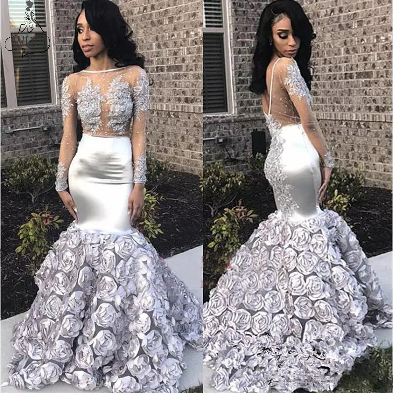 Gorgeous Rose Flowers Mermaid Prom Dresses 2019 Appliques Sheer Long Sleeve Evening Gown Silver Stretchy Satin Robe De Soiree