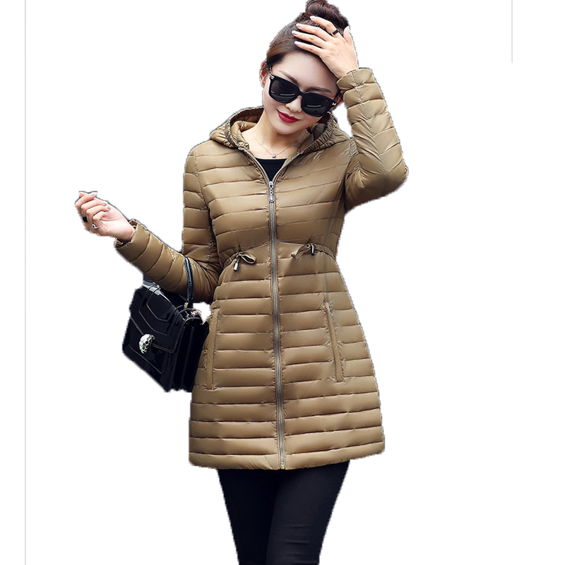 New 2017 Women Padded Jacket Winter Slim Medium Long Thick Hooded Long Sleeve Plus Size Parkas Casacos Femininos Coats Mujer qazxsw new winter cotton coat hooded padded women parkas mujer invierno 2017 winter jacket women warm casacos femininos hb221