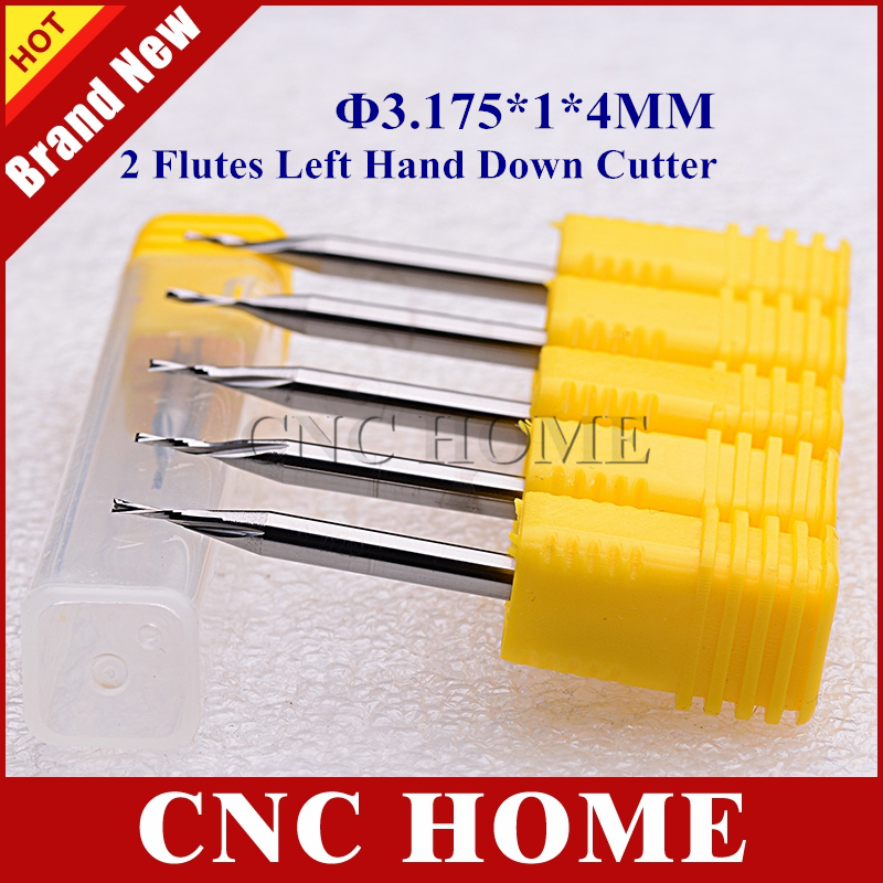 10pcs 3 175 1 4mm Two Flutes Left Spiral End Mill Germany Carbide Milling Cutter Set