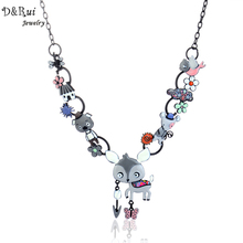 Classic Women Necklace Metal Alloy Enamel Deer Bird Animal Pendant 2017 Fashion New Arrival Costume Link Chain Female Jewelry