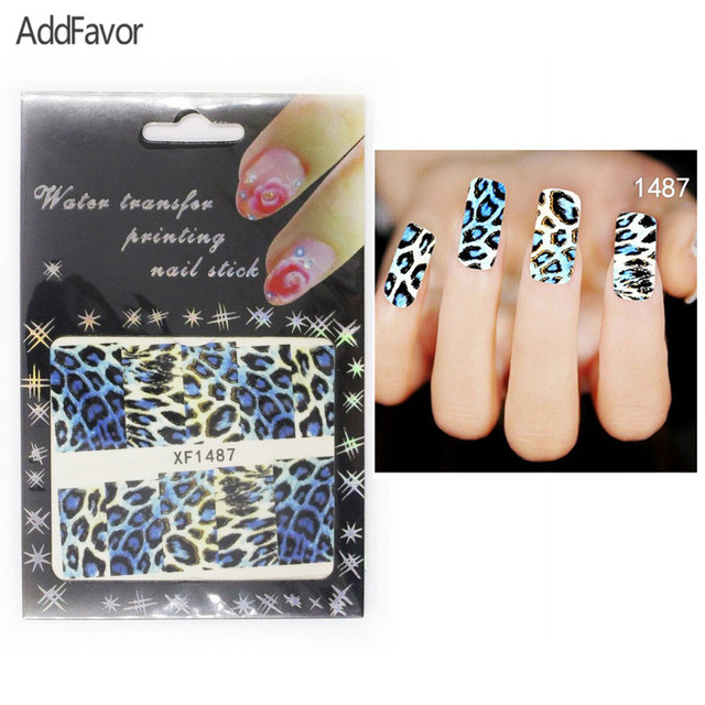 Addfavor 4pc Nail Art Stickers Blue Black Leopard Grain Gel
