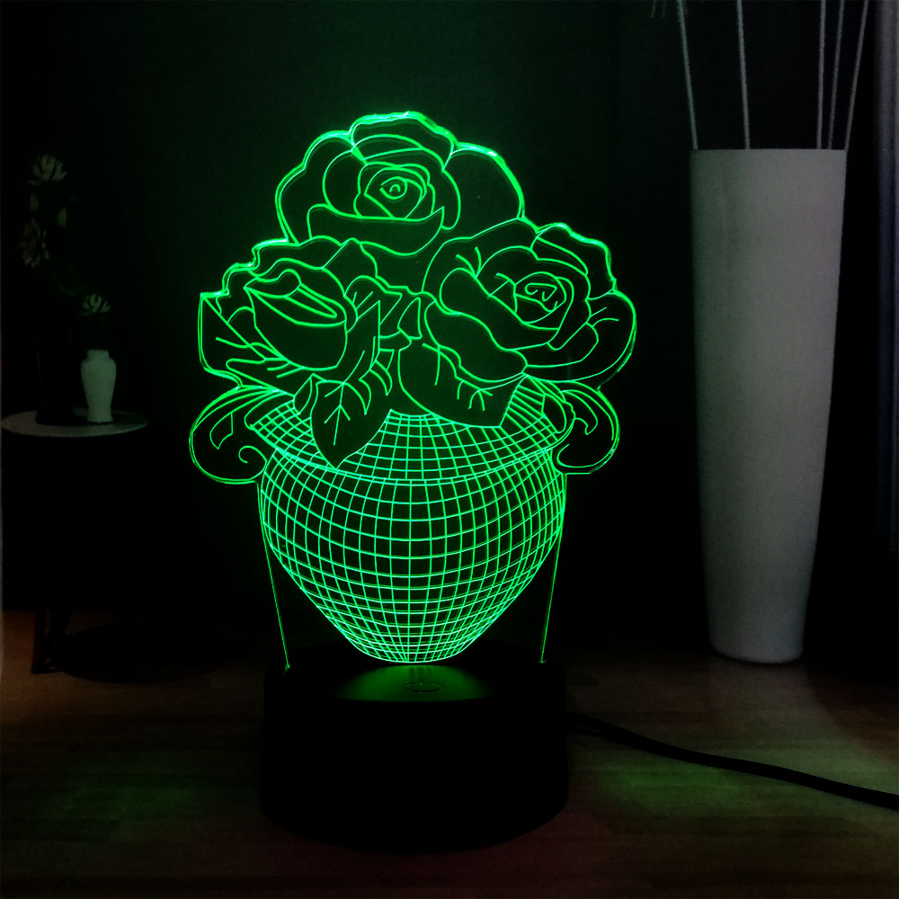 Led Night Lights Sunny Colorful Led 3d Vision Night Light Rose And Heart Image Touchment Control Color 3d Night Lamp Desk Light