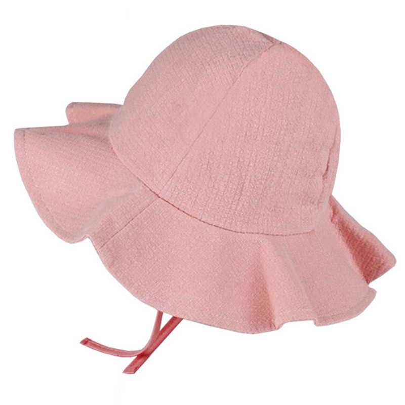 eb212ee76 Solid Color Summer Baby Hat Children Panama Sun Cap Cotton Bucket ...