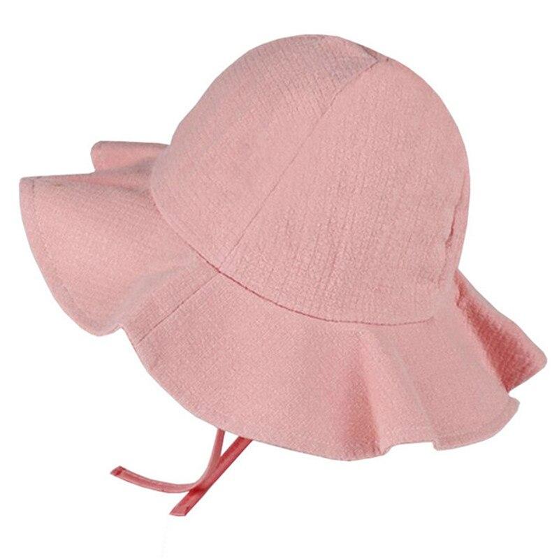 FäHig Einfarbig Sommer Baby Hut Kinder Panama Sun Cap Baumwolle Eimer Hüte Jungen Mädchen Breiter Krempe Strand Kappen Harmonische Farben