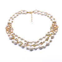 Classic Women Pearls Jewelry European Pop Dazzling Multi Layer Beads Chain Necklace Retail Wholesale