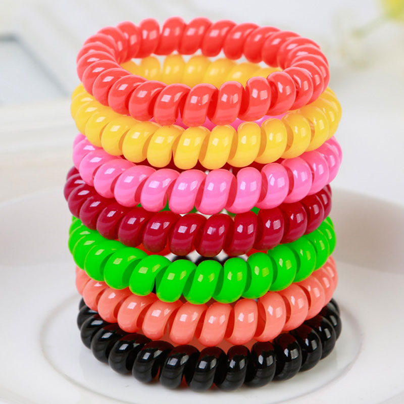 10Pcs Telephone Cable Shape Hair Accessories Women Lady Elastic Rubber Spring Hair Ring Ties Band Rope Ponytail Holder Bracelets new 10pcs women lady hair band velvet elastic ponytail tie bow rubber bobbles lovely