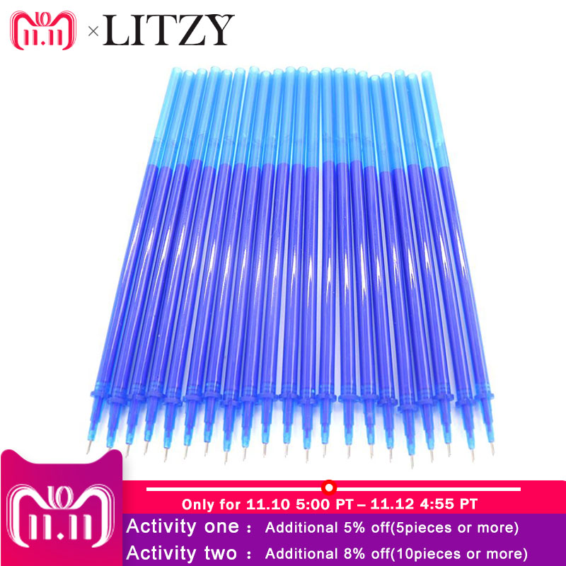 20Pcs/Set Office Gel Pen Erasable Refill Rod Magic Erasable Pen Refill 0.5mm Blue Black Ink School Stationery Writing Tool Gift lovely 0 5mm jelly candy color erasable pen blue ink stationery gel pen kids prize gift office school supplies colorful random