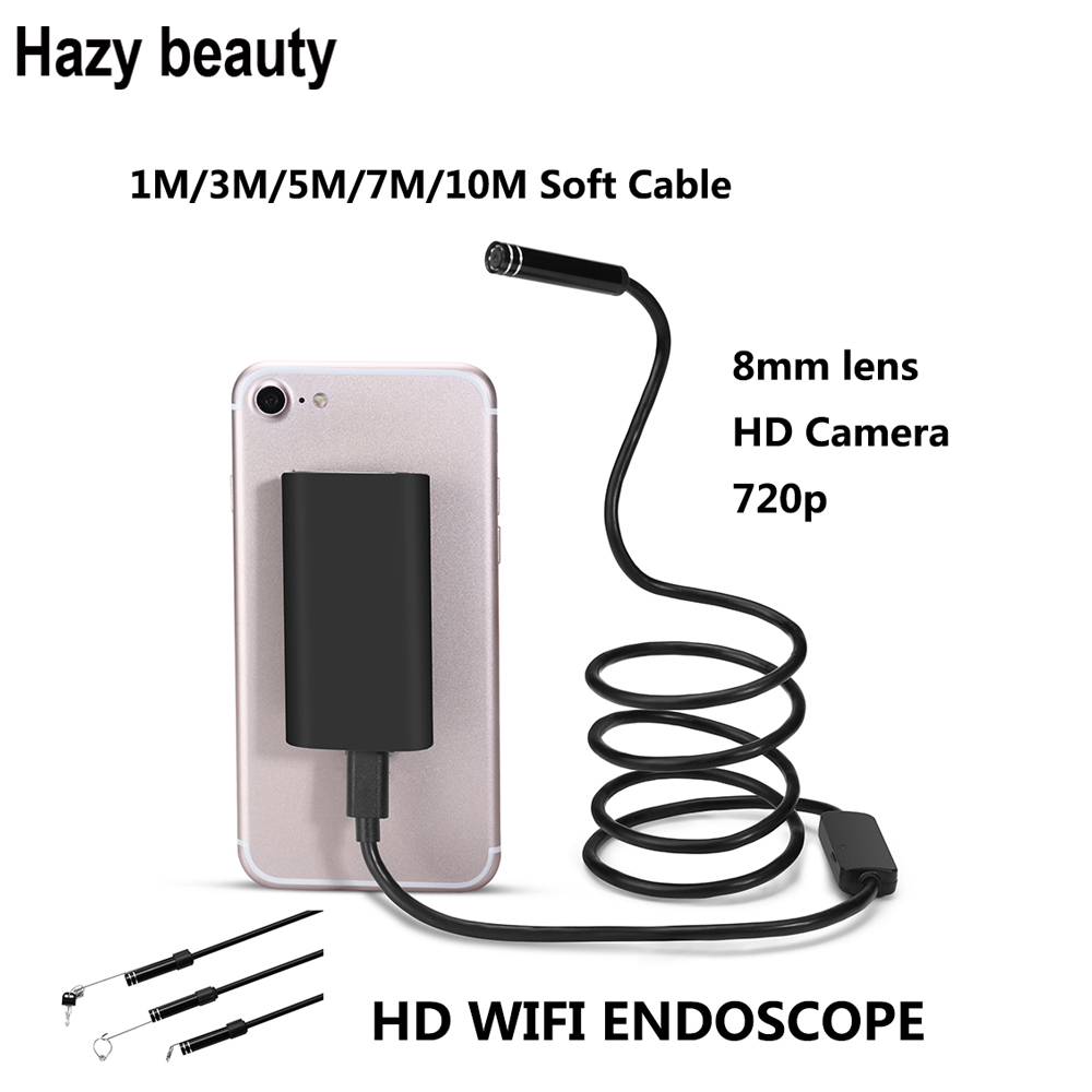 Hazy beauty HD Wifi Wireless Endoscope Snake Inspection Camera 8MM Lens IP67 Waterproof Borescope Support iOS Android hazy beauty usb android endoscope 8mm 5m length endoscope 2m hd inspection snake camera waterproof snake pipe borescope cam
