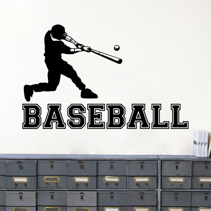 GY20 3D Baseball Player Sports Vinyl DIY Creative Wall Sticker Decal Boy Kids Baby Bedroom Living Room Art Home Decor