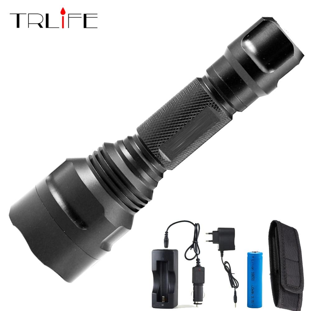 TRLIFE Puissant 8000 lumens C8 L2 lampe de poche led + DC/chargeur de voiture + 18650 Batterie + Étui torche led lampe étanche