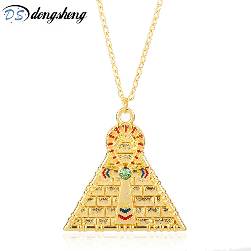 The Eye of Horus Necklace Egyptian Pyramid Cross Amulet Pendant for Women Men