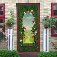 Wonderland Entrance Door Stickers Home Decorative Accessories Self-adhesive Waterproof 3D Porte Autocolant Gift For Children DIY