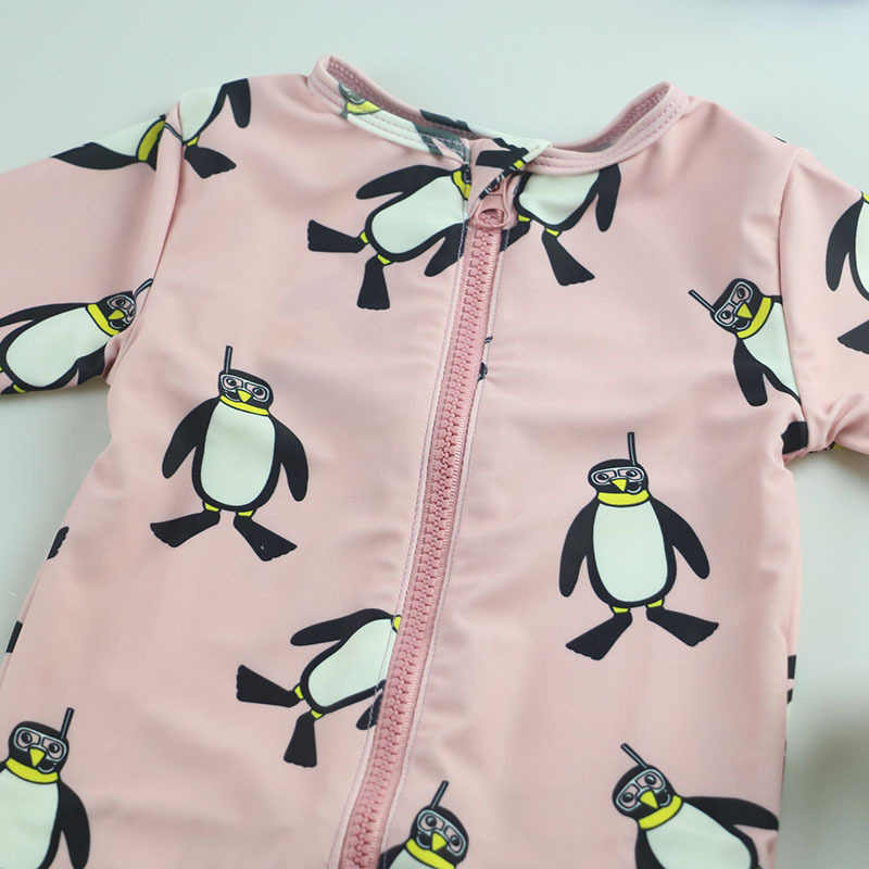 5351059d1540 ... Kids Baby Surf Wear Cartoon Penguin Swimsuit Infant Girls Boys Bathing  Suit Children Swimwear With Cap ...