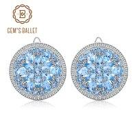 GEM'S BALLET Swiss Blue Topaz Earrings Pure 100% 925 sterling silver Natural Gemstones Clip Earrings Luxury Jewelry For Women