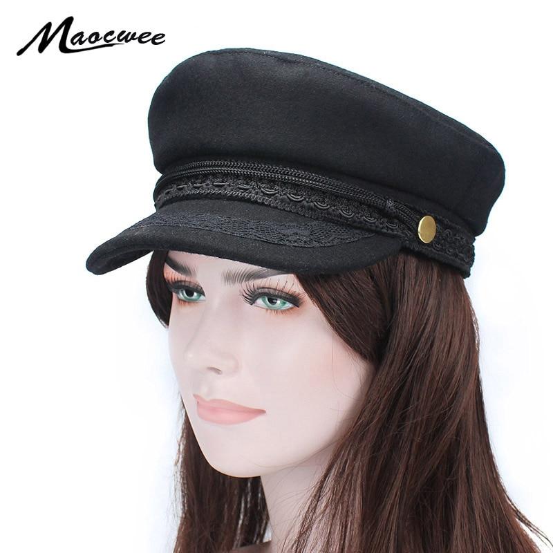 cffd1fbcd4f US $6.6 31% OFF|Army Military Hat Cap Women Fall Autumn Winter lace Hats  Black Korean Literary British Military Hats Lady Flat Cap Gorra 2018-in  Men's ...