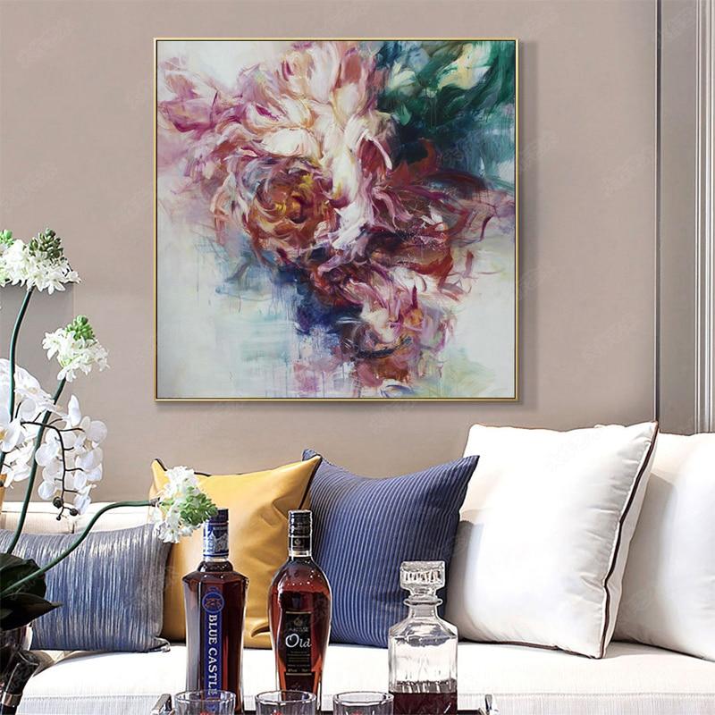 100% Hand Bemalt Abstrakten Große Blumen Ölgemälde Auf Leinwand Wand Kunst Wand Schmuck Bilder Malerei Für Live Room Home decor - 5