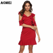eceb9566d14f5c Women Red Dress Evening Party Ruffles Sexy Dinner Clubwear Backless Plus  Size Ladies Slim Tunics Elegant Tight Spring 2019 Robes