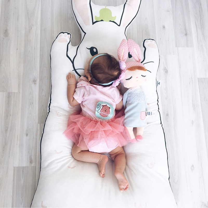 New Fashion Kidlove Cute Baby Infant Crawling Activity Pad Round Kids Crawling Carpet Rabbit Blanket Cotton Game Pad Children Room Decor Baby Gyms & Playmats