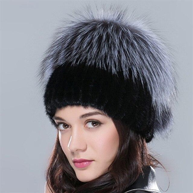 7 цветов природный реального норки silver fox меховые шапки шляпы для женщины ткут эластичный мягкий теплый натурального меха женские зимние шапочки hat cap