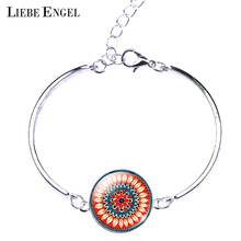 LIEBE ENGEL Classic Colorful Mandala Flower OM Symbol Buddhism Zen Picture Vintage Silver Color Bangles Bracelet Jewelry Women