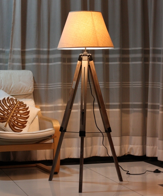 Nordic Loft American Country Style Large Floor Lighting Wood Gray Tripod Lamp