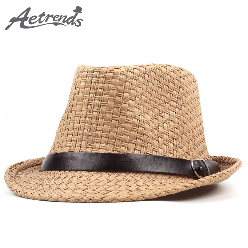 [AETRENDS] 2018 New Summer Beach Hat Straw Sun Hats for Men Women Jazz Cap Panama Caps Derby Bowler Z-6332