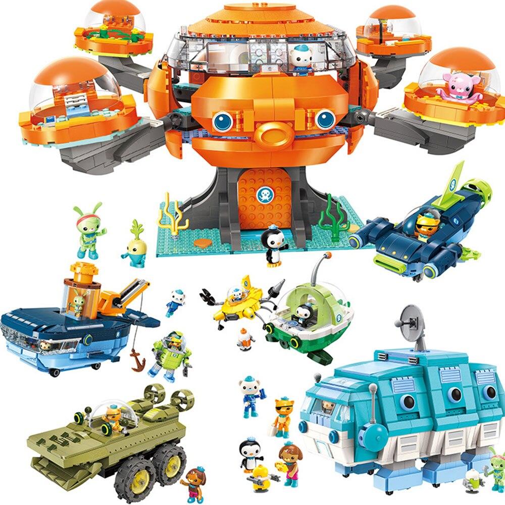 Les Octonauts pieuvre pieuvre Playset & Barnacles kwazii peso Inkling Duplo éclairer briques enfants jouet bloc de construction octo-pod