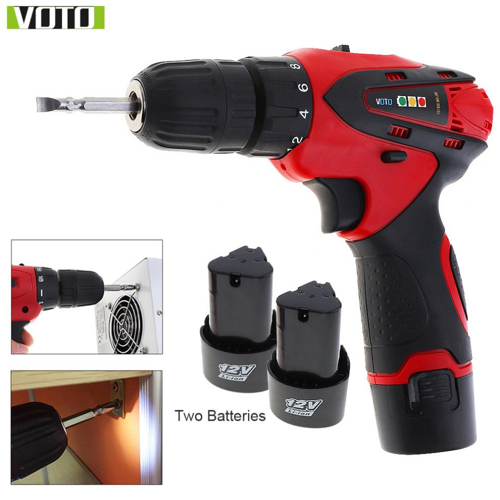 VOTO AC 100 240V Cordless 12V Electric Screwdriver with 2 Lithium Batteries for Handling Screws Punching