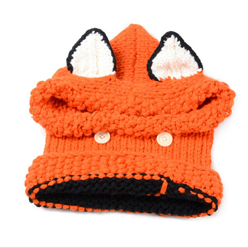 New Korean Winter Warm Neck Wrap Fox Scarf Caps Cute Autumn Children Wool  Knitted Hats Baby Girls Shawls Hooded Cowl Beanie Caps-in Skullies    Beanies from ... acf5de2af288