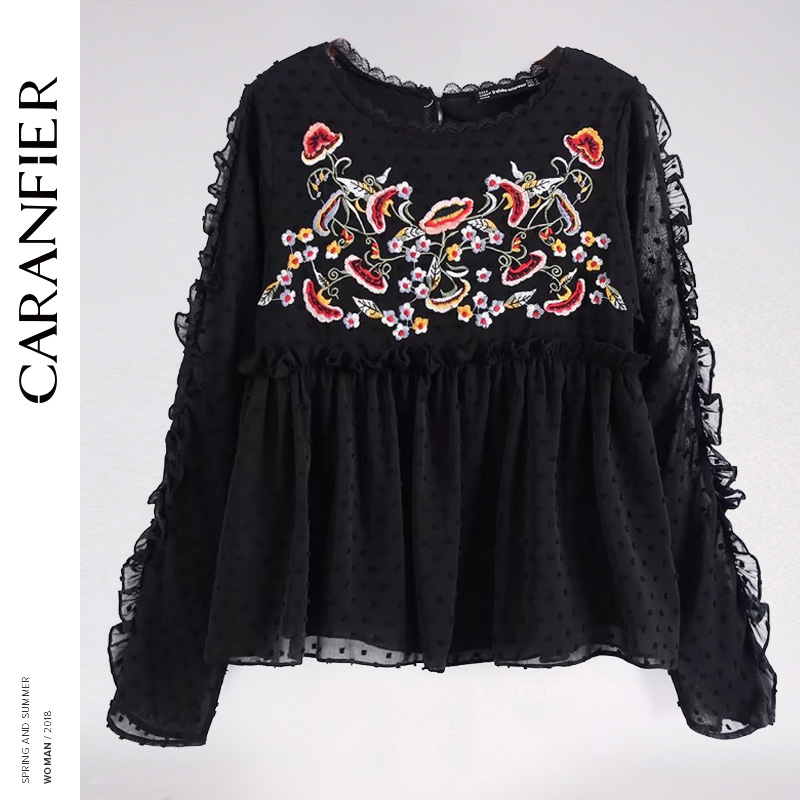 CARANFIER 2018 New Autumn Tops Women Casual Beauty Chiffon Blouse O Neck Long Sleeve with Ruffles Floral Embroidery Blause