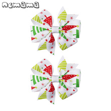 2 Pcs 3Mini Pinwheel Hairbow With Clips For Kids Girls Santa Claus Christmas Printed Hairclip Party Hair Accessories