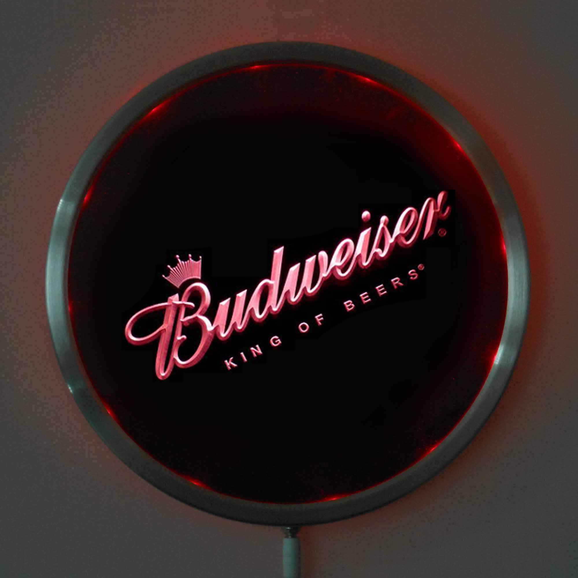 rs-0002 Budweiser Beer LED Neon Round Signs 25cm/ 10 Inch - Bar Sign with RGB Multi-Color Remote Wireless Control Function