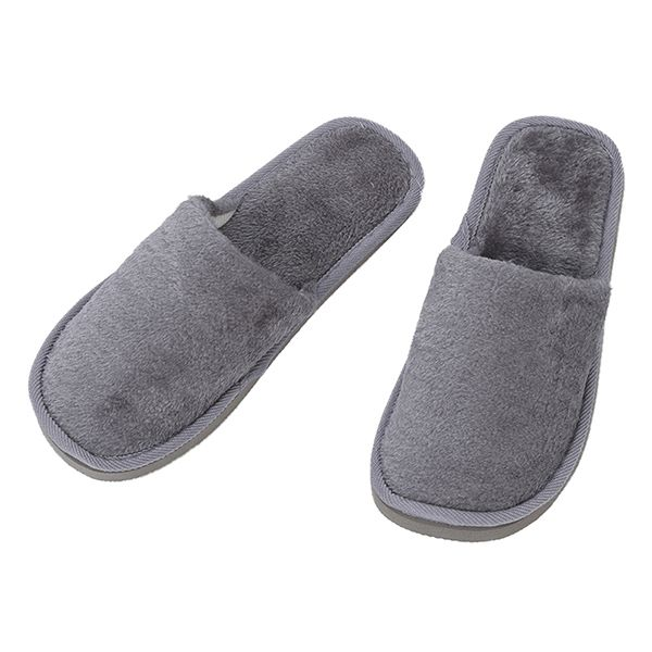 где купить Gray Fleeces Men Slippers UK 8.5 for Feet Length 27 cm Plush winter Warm Slippers Indoor Soft Couple indoor Slippers дешево