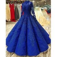 Королевский синий Арабский Вечерние платья Длинные 2019 пол длина бисером аппликации бальное вечерние партии торжественное мусульманское