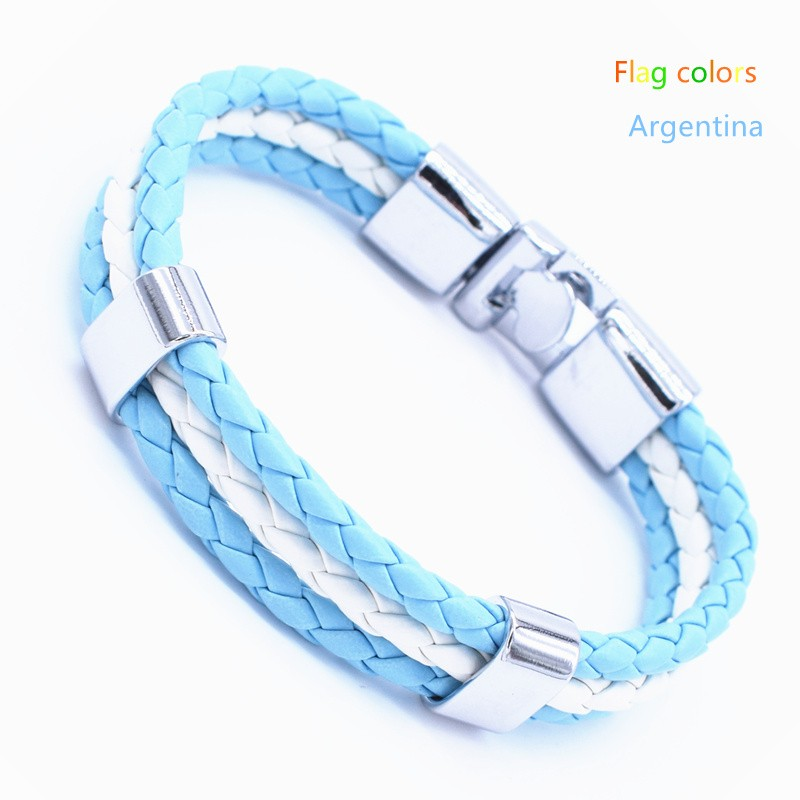 Wholesale Length 21cm 3 Strands Rope Braided Leather Chain & Link Bracelet Men Wristband National Flags Color Sports Bracelets 12