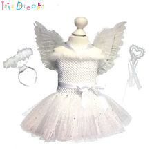 135ea28bf3 White Sparkle Girl Feather Angel Birthday Cosplay Tutu Dress Children  Christmas Party Tutu Dresses with Wings and Fairy Wands