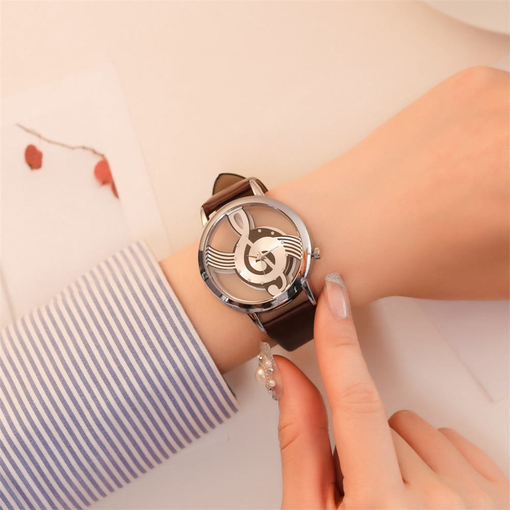 Top Brand Women Watch Musical Note Hollow-Carved Design Contracted Leather Quartz Wristwatches Ladies Dress Clock Dropshiping #A