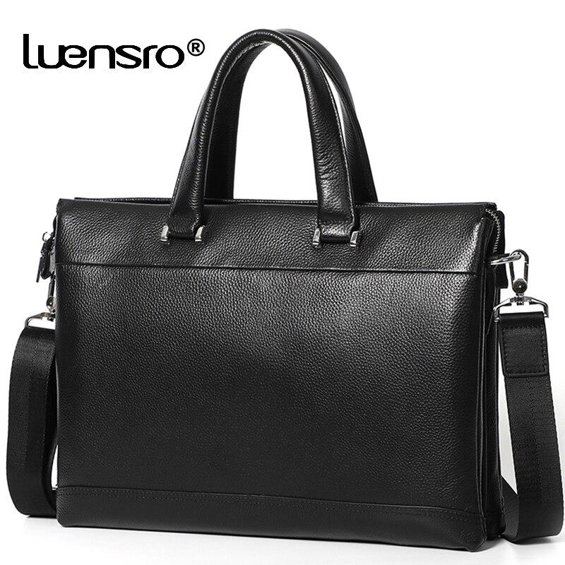 Business Briefcase Men Genuine Leather Handbag Multiple Compartment Shoulder Messenger Bags Male Real Leather 14 Inch Laptop Bag